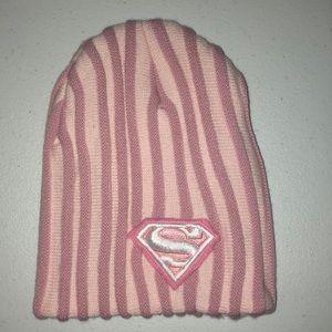 Pink beanie Super Girl logo